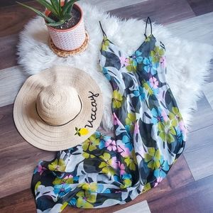 Sheer floral nightgown/swim cover